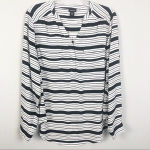 Torrid | Black & White Striped Blouse